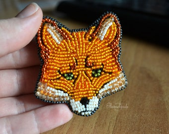 Brooch Fox, embroidery with Japanese beads, red, orange, ginger