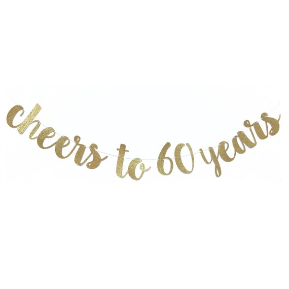 Cheers To 60 Years Banner 60th Birthday Decoration 60 And