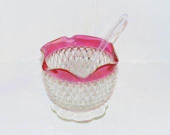 Indiana Glass Company Diamond Point Condiment Server 1198