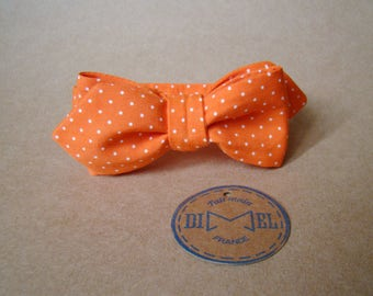 Bow tie orange polka dot adjustable tie