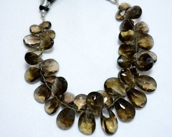 Smoky Quartz Pear Shape Beads, Faceted Pear Shape Briolettes Gemstone For Jewelry, 7x9mm - 9x17mm Approx, 3.5 Inch Half Strand