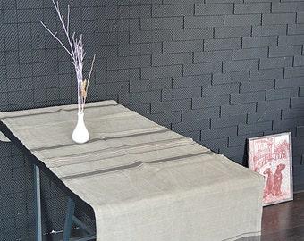Linen striped table runner - Natural linen table runner - Long linen table runner  - Rustic pure linen table runner