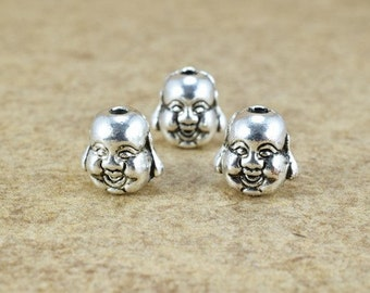 Solid Buddha Head Beads Two Side Face Tibetan Style Antique Silver Alloy Metal Bracelets Charm Size 10x9.5x8mm Hole Size 2mm For Jewelry
