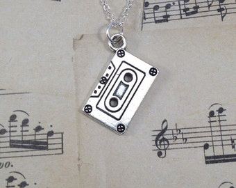 Cassette Necklace, Music Jewelry, Retro Musician Gift, Old Tape Deck Funny Birthday Present Christmas Old Timer Retirement Joke Boss 156
