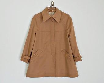 Vintage 70s tan A-line peacoat // Size S/M