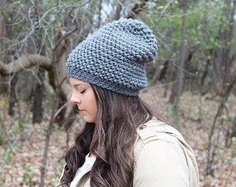 Grey Slouchy Hat, Grey Slouchy Beanie, Grey Beanie, Grey Crochet Hat, Crochet Beanie, Grey Winter Hat, Women's Hat, Hipster Hat, THE ASPEN