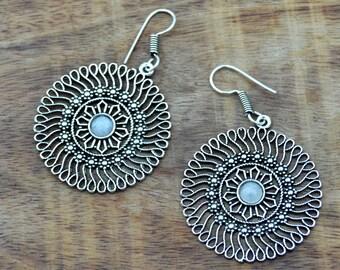 Mandala Earrings, Silver Tribal Earrings, Silver Hoop Earrings, Indian Earrings, Ethnic Earrings, Boho Earrings, Indian Jewellery