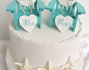 Nautical Wedding Cake Topper,Beach Wedding Cake Topper,Mini Adirondack Chairs,Anchor Cake Topper,Beach Wedding,Beach Theme,Bridal Shower