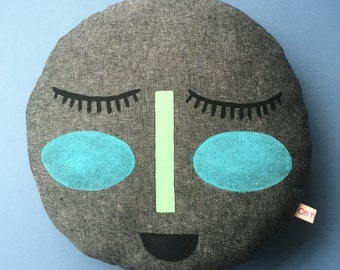 The MOON face pillow. Handmade. Handpainted