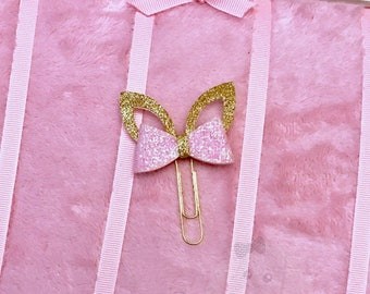 Glitter Bunny Ears Bow Planner Clip in Pink