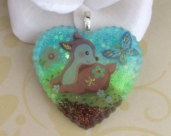 Glitters Reindeer Resin Pendant, Necklace, Keychain, Jewelry