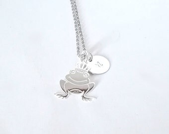 Initial necklace,, frog prince necklace, frog letter necklace, engraved necklace, disc necklace, handstamped, personalized disc necklace
