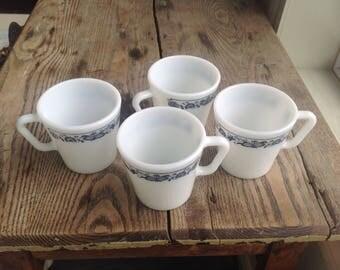 PYREX vintage 4 pyrex mugs, coffee cup pyrex cups