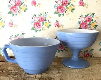 Hazel Atlas periwinkle blue moderntone platonite cup and compote