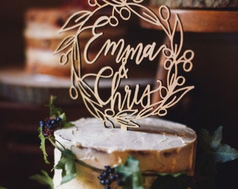 Wreath Cake Topper - Custom Wreath Cake Topper - Personalised Cake Topper - Wedding Cake Topper - Calligraphy Cake Topper - Wood Cake Topper