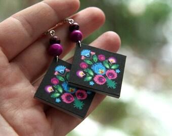 Polish folk earrings, black earrings, Polish earrings, black and pink earrings,  diamond shaped earrings, Polish gift Christmas