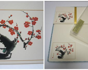 Japanese Stationery Set Kit in Box Stationery Letter Sheets Envelopes Letter Writing Paper Set Vintage Stationary Floral Plum Made in Japan