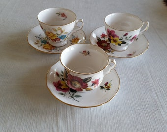 3 vintage teacup & saucer sets from 1960's - queen anne # 8293 - 8300 - 8303 - ridgeway potteries bone china england - tea cups floral rose