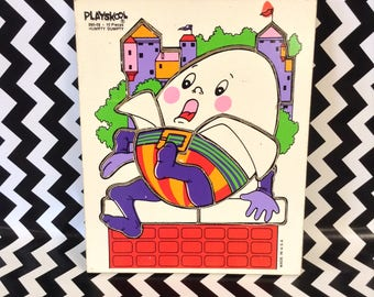Humpty Dumpy in Pieces~Humpty Dumpty Puzzle~Vintage Toy~Board Puzzle~Playskool~Children's Toy