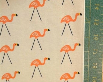Organic cotton knit flamingo novelty print, lawn ornament brown / beige by cloud9, 100% organic cotton interlock knit, wide knit 54""