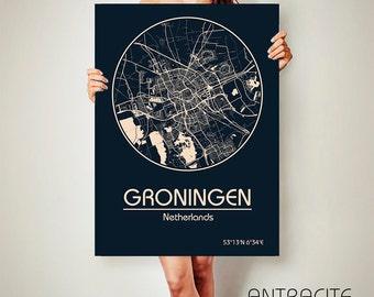 GRONINGEN Netherlands CANVAS Map Groningen  Poster City Map Groningen Art Print Groningen poster Groningen map art Poster Groningen map