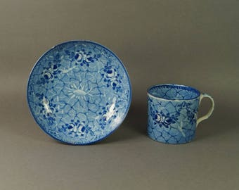 Antique Early Ridgway Blue and White Transferware Coffee Can and Saucer Pearlware Circa 1820 Georgian
