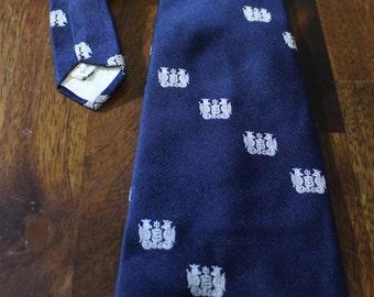 Seahorse Mens Wide Vintage Necktie, Sea-horse navy blue neckwear