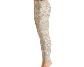 Khaki Yoga Pants - Cream Leggings, Beige Leggings, Tan Leggings, Mandala Art Yoga Tights