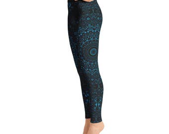 Cerulean Blue Yoga Pants - Black Leggings with Blue Mandala Designs for Women, Printed Leggings, Pattern Yoga Tights