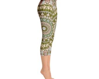 Capris - Mid Rise Ladies Yoga Leggings, Yoga Pants, Yoga Print Leggings Tights, Printed Leggings, Fashion Leggings, Womens Stretch Pants