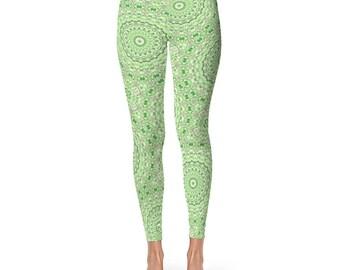Green Print Leggings for Women - High Waist Patterned Leggings Soft Yoga Pants With Designs, Mandala Leggings Tights