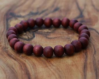 Cherry Wood - 8mm Wooden Bead Bracelet