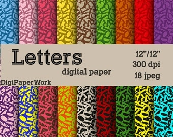 Letters digital paper letter patterns Digital Paper chaos paper Letters background Instant download, for Personal and Commercial Use