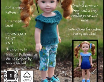 """Refined & Ruffled-14""""  Knitting Pattern for 14"""" dolls such as Wellie Wishers, Hearts for Hearts, and Kish Chrysalis dolls"""