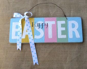 Wooden Easter Sign, Blue Easter Sign, Wood Door Hanger, Pastel Easter Sign, Rustic Easter Sign, Easter Decoration, Spring Sign, Wood Sign