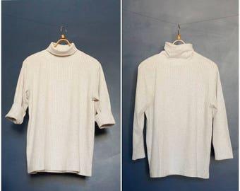 90s Ribbed Turtle Neck Top Off White Rib Knit Long Sleeve Unisex Turtleneck Oversize Baggy Boyfriend High Neck Sweater Gray Mock Neck M L