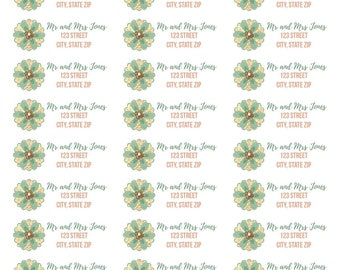 Sage and Tan Flower Address Labels-Green and Tan Address Labels-Flower Address Labels-Personalized and Customized Address Labels