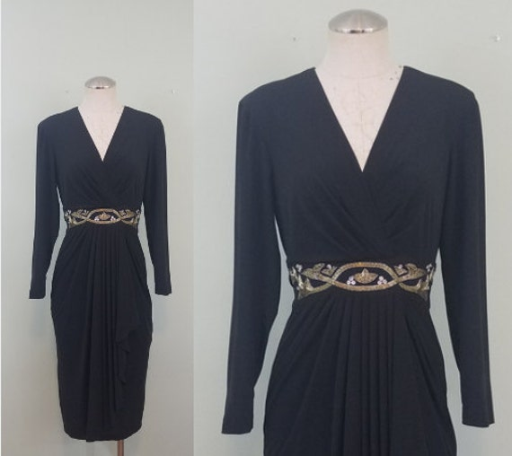 1970s Plunging Neck Disco Dress / Vintage Midi with Sleeves / Silver Beaded, Nipped in Waist / Modern Size XXS to XS
