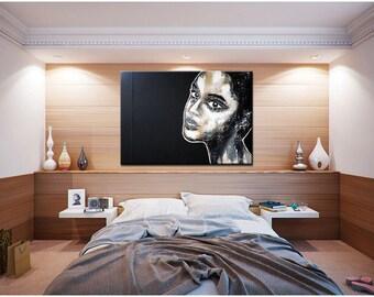 """Portrait XXL 39"""" x 35"""" inch original  big size xxl black white unique canvas art painting big size large african artLigne"""