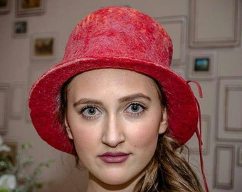 Fedora handmade Felted Red Hat