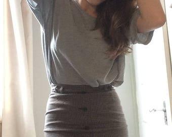 1990s vintage brown plaid pencil skirt, UK 6