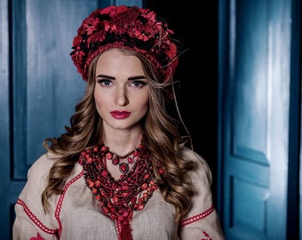 Ukrainian headwear, Flower Headdress, Flower Crown, Flower Headpiece, Hair Accessories, Headband, Floral Circlet Headpiece, Ethnic Wreath
