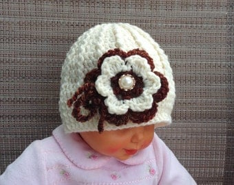 baby girl hat, 3-6 months,crochet hat, RTS, off-white, fall, winter, flower hat, detachable flower, pearl, Christmas hat, infant, removable