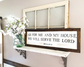 As for me and my house, we will serve the Lord sign. 36 in x 12 in(as pictured) or 48x12. Dining room decor, religious, joshua 24:15
