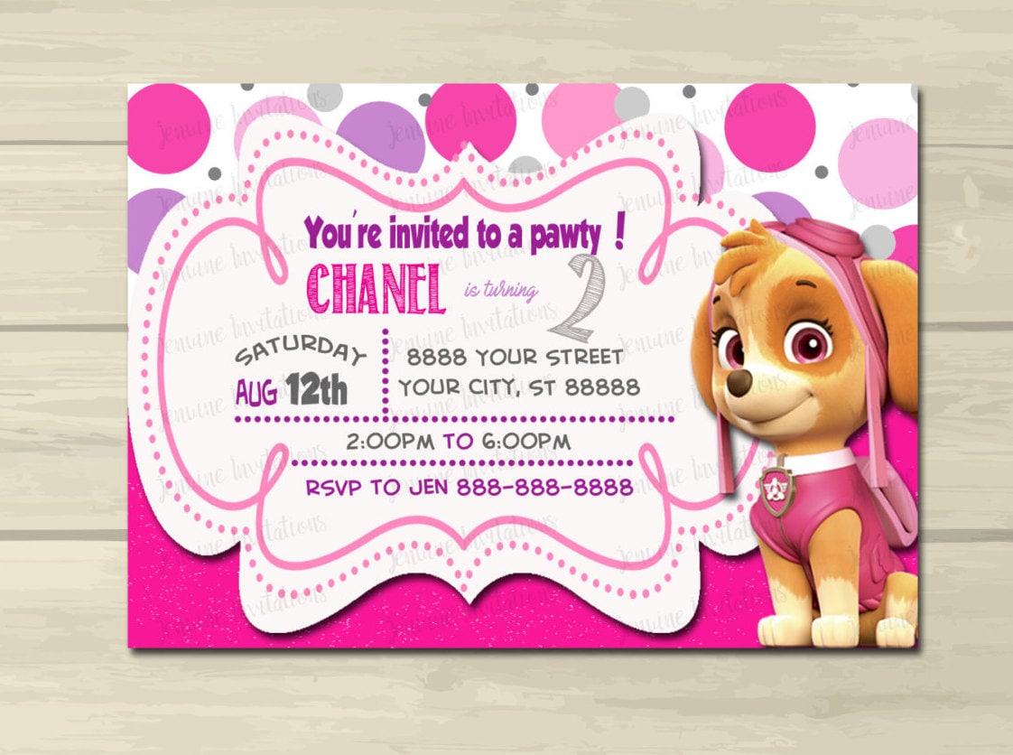Paw Patrol Birthday Invitations Girl Paw Patrol Sky Girl