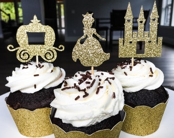 Princess Cupcake Toppers • Fairytale Cupcake Topper • Princess Castle Carriage • Princess Birthday • Baby Shower • First Birthday