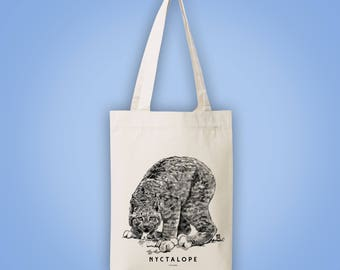 Sac cabas en toile recyclée (recycled woven tote bag) lynx NYCTALOPE (nyctalopia, night blindness bobcat) animal totem illustration