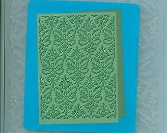 Embossing Folders - Kassies Brocade Cuttlebug for card making and Scrapbooking. All Occasion elegant 5x7 background.