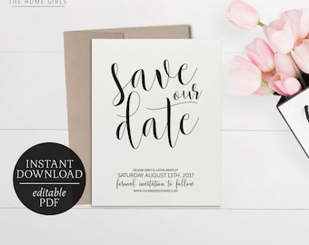 Printable Save The Date Calligraphy Invitation | Editable Template | Black and White | Wedding Suite | Download | Save the Date | Selena