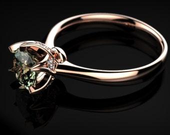 Rose Gold Engagement Ring Prasiolite Green Amethyst Engagement Ring Gemstone Engagement Ring Green Amethyst Ring Unique Engagement Ring